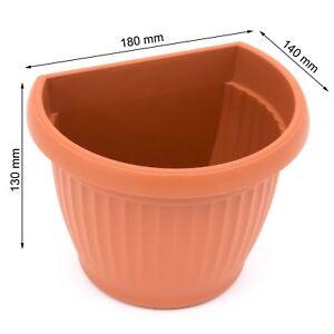 Small Corinthian Half Round Wall Basket Garden Solid Terracotta Flower Pot 1 Ltr