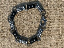 Stainless Steel Silver and black Rubber Mens gothic punk Link Bracelet
