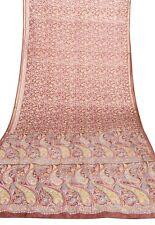Indian Silk Vintage Saree Woven Fabric Antique Dacor Craft Brown Sari 5.3 Meter