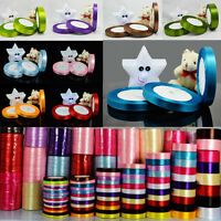 25 Yards Satin Ribbon Roll Wedding Party Craft Sewing Decors  Lots Color Width