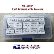 100 pcs Rectifier Diode Assortment Kit 10 Values 10 Pcs Each w/Box - US Seller