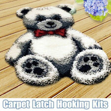 Gray Bear DIY Latch Hook Rugs Kits Crocheting Mats 3D Embroidery Cushion Carpet