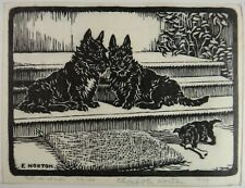 "Elizabeth Norton B&W Woodblock. 1929, 3 Scottish Terriers. Signed,10 ½ x 7 1/2""."