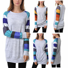 Cotton Blend Striped Tops for Women