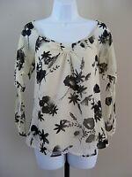 Ann Taylor Loft Size S Beige Floral Short Sleeve Blouse