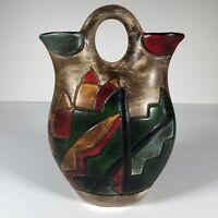 "Southwest Stye Pottery Wedding Vase Ceramic 7.5"" Tall Hand Painted"