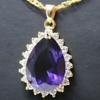 6 Ct Pear Purple Amethyst Necklace Women Jewelry 14K Rose Gold Plated Free Ship