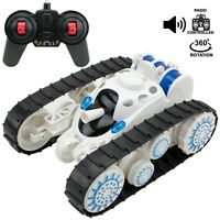 Tank battle Stunt Car, Remote Control Tank with LED Lights Music Transformation