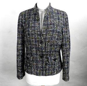 Tailored Dark Grey and Ivory Tweedy Wool Jacket by 123  Size 14  Boho Classic