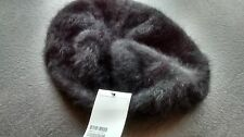 ladies black angora  beret style hat NEW FREEPOST