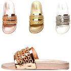 Womens Metallic Chain Link Open Toe Slide Slip On Flat Sandal Flip Flops Slipper