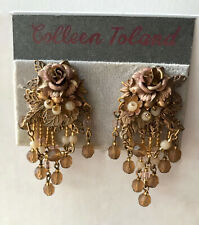 Colleen Toland Light Gold Brown Rose Earrings, Signed. Clip-On