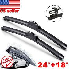 "24"" & 18"" Windshield Wiper Blades High Quality J-Hook Premium Hybrid silicone US"