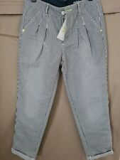 Adidas Neo Womens Chino Pinstripe Trouser Pants W27 L32. Navy/white Relaxed fit