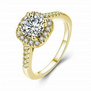 Women Gold White Zircon Wedding Jewelry Bridal Anniversary Gift Ring Size 10