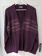 DAMART MENS FANCY KNIT CARDIGAN PLUM PURPLE SIZE XL NEW
