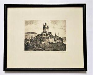 Old Print Imperial Castle Cochem Etching Hugo Eichler Framed