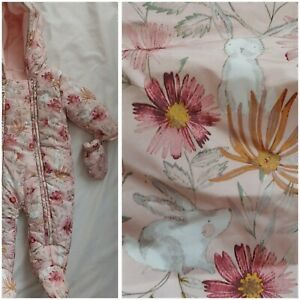 Next 3-6 Months Snowsuit Pink Rabbit Hare Bunny Floral Flower Mitts Fleece Lined