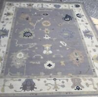 Hand knotted Tribal Oushak Fine Wool Oriental Area Rug in Gray 10x14