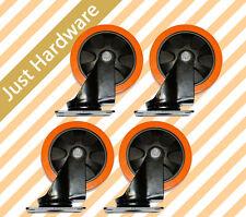 """4 X 5"""" HEAVY DUTY PU castors 125mm Swivel ONLY Castor Non Marking 130KG Orange"""