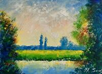 Sunny Meadow River Landscape Painting California Impressionist Semberecki