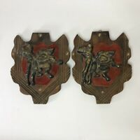 """Mid-Century Spanish bronze bullfighters mounted on wooden plaques 13"""" x 10"""""""