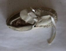 Vintage Handmade White Leather Baby Moccasin