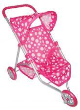 Dolls 3 Wheeler Pushchair Stroller Pink Dots NEW