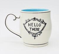 "Anthropologie Molly Hatch HELLO THERE Aqua White Stripe Interior Coffee Mug 4"""