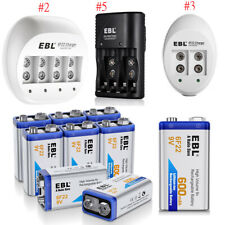 Lot EBL 9V 600mAh 6F22 Li-ion Rechargeable Batteries / 9V Battery Charger US