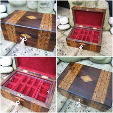 ANTIQUE JEWELLERY BOX - 19C ROSEWOOD INLAID WONDERFUL INTERIOR