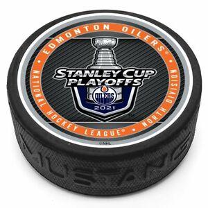2021 NHL Stanley Cup Playoffs Edmonton Oilers 3D Textured Souvenir Hockey Puck