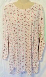 Victoria's Secret White Pink Heart Long Sleeve Sleep Shirt Gown Cotton Medium
