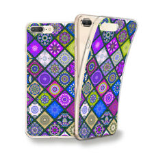 Funda gel dibujo Mosaico color morado para Iphone 6 7 8 plus X Xs Xs MAX XR