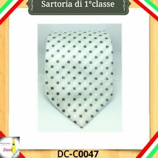 CRAVATTA BIANCA QUADRI BIANCO Classica Elegante Matrimonio 100%Seta DC-C0047