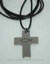 Kreuz aus Edelstahl an Lederband, Motiv Fisch = Ichtys, Symbol der Christen
