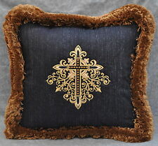"""Embroidered Cross Pillow made w Ralph Lauren Poet Society Navy Blue Fabric 16"""""""