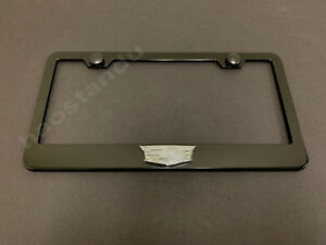 1xCadillacLOGO 3D Emblem BLACK Stainless License Plate Frame RUST FREE + S.Caps
