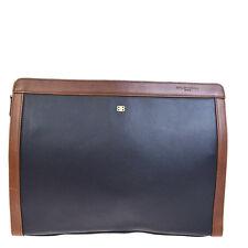 Authentic BALENCIAGA Logos Clutch Hand Bag Leather Paisley Black Brown 02V500