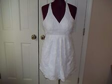B. WEAR JUNIOR'S SIZE 9 WHITE HALTER TOP SUNDRESS 3-D FLORAL AND RIBBON WORK