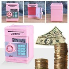 Pink Digital Electric Piggy Bank ATM Machine Card Pin Coin Notes Money Saving JA