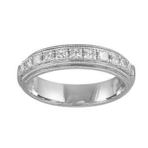 Gemsake 0.54 ctw Princess Natural Certified Diamond Half Eternity band Channel