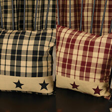 "Primitive Farmhouse Star 16"" Country Throw Pillow, Burgundy or Black and Tan"