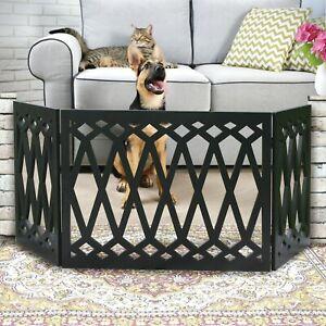 "Etna 3-Panel Wood Pet Gate -Freestanding Tri Fold Diamond Dog Fence-48""W x 19""H"