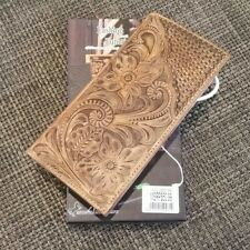 Montana West 100% Tooled Leather Men's  Long Wallet Western Charging Wallet