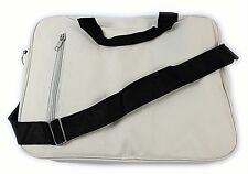 "Laptop Carry Case Netbook Tablet Notebook Padded Shoulder Bag 14"" Cream & Black"