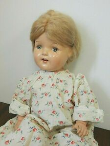 """Vintage/Antique 21"""" Unmarked Composition Mama Doll, Needs TLC"""
