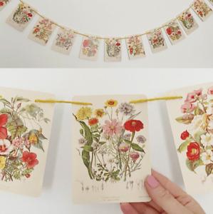Flower Card Garland Decoration Vintage Style Bunting