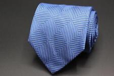 ESCADA 7 Fold Blue Geometric Silk Tie.