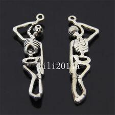 10 pc Tibet Argent Pendentif Crâne terroristes charme perles accessoires pl070